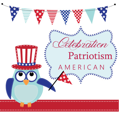 stitched: Owl wearing patriotic uncle sams hat holding a flag with patriotic bunting or banners and frame, layout for scrapbooking or card, vector format