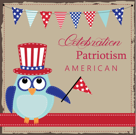 presidents day: Owl wearing patriotic uncle sams hat holding a flag with patriotic bunting or banners, layout for scrapbooking or card, vector format Illustration
