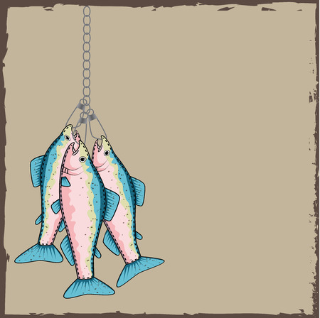 rainbow trout: Trout on a stringer with a torn paper background, vector format Illustration