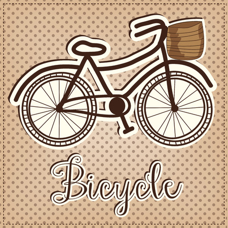 Retro or vintage bicycle with a basket with a poka dot background, vector format
