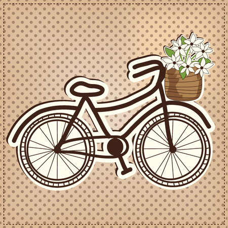 pedaling: retro or vintage bicycle with a basket full of flowers, with polka dot background, vector format