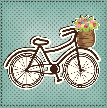 retro or vintage bicycle with a basket full of flowers, with polka dot background, vector format