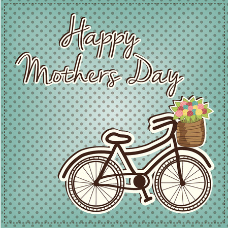 Retro or vintage bicycle with a basket full of flowers, for mothers day, vector format Vector