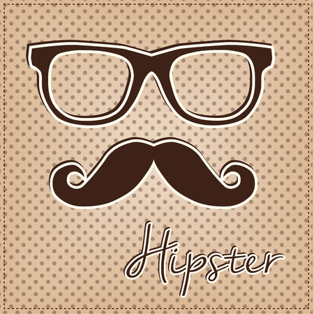 Eye glasses and mustache, vintage or retro hipster elements on polka dot background, vector format Vector