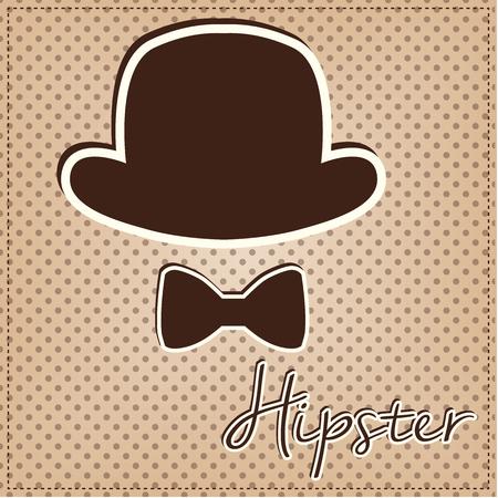 dressy: Bowler hat and bow tie, vintage or retro hipster elements on polka dot background, vector format Illustration