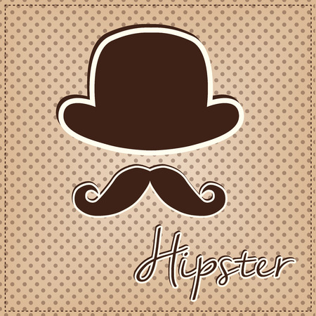derby hats: Bowler hat and mustache, vintage or retro hipster elements on polka dot background, vector format Illustration