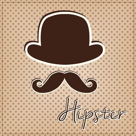 Bowler hat and mustache, vintage or retro hipster elements on polka dot background, vector format Illustration