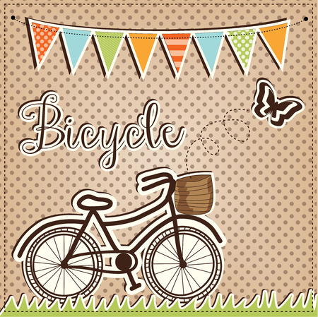 retro or vintage bicycle with butterfly and flags or banner on a polka dot background Vector