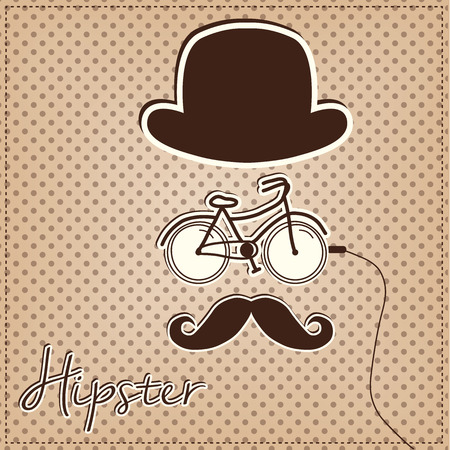 bowler hat: Retro or vintage man made of hipster elements, bicycle, bowler hat and mustache, vector format