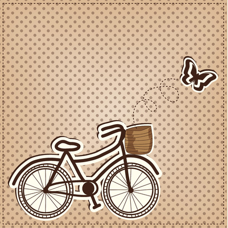 retro or vintage bicycle with butterfly on a polka dot background, vector format  Vector