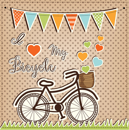 Retro or vintage bicycle with hearts floating out of a basket, with flags or bunting, on a polka dot background, vector format