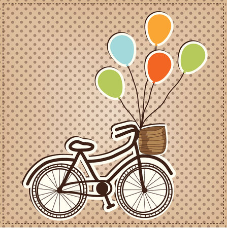 Retro or vintage bicycle with balloons tied to handles, on a polka dot background, vector format Vector