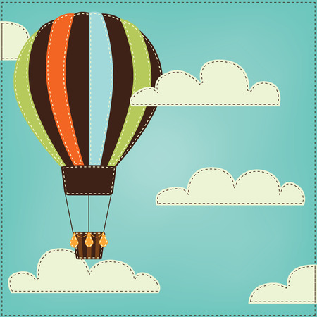 Vintage or retro hot air balloon in sky with clouds Vector