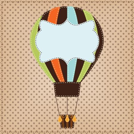 Vintage or retro hot air balloon on polka dot background Vector