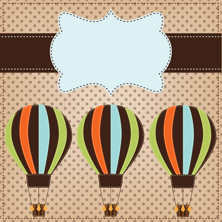 Vintage or retro hot air balloons on polka dot background with text box Vector