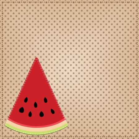 A slice of watermelon, on a polka dot background, for scrapbooking, vector format Illustration