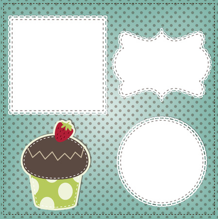 sewn: Retro cupcake layout Illustration