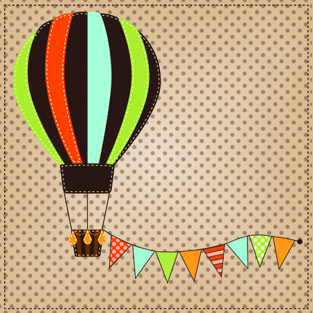 Vintage or retro hot air balloon on polka dot background with bunting, flags or banner Çizim