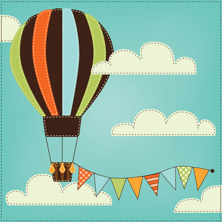 Vintage or retro hot air balloon in sky with clouds and  bunting, flags or banner