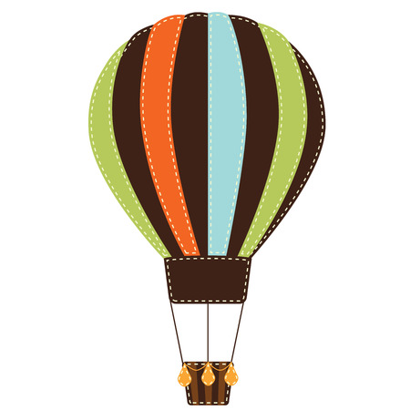 Vintage or retro hot air balloon on transparent background Vector