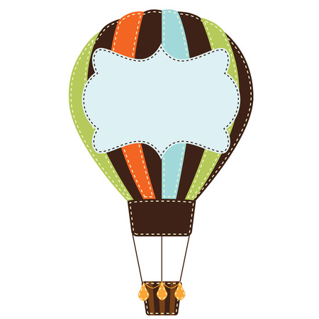 Vintage or retro hot air balloon on transparent background with text box Vector