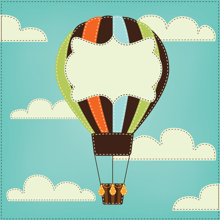 Vintage or retro hot air balloon in sky with clouds and text box Vector