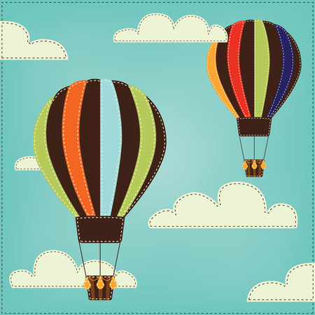 Vintage or retro hot air balloons in sky with clouds Vector