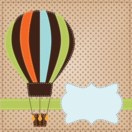 Vintage  or retro hot air balloon on polka dot background with text box Vector
