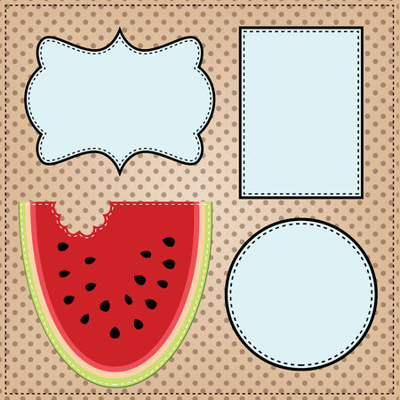 stitched: A slice of watermelon, with frames