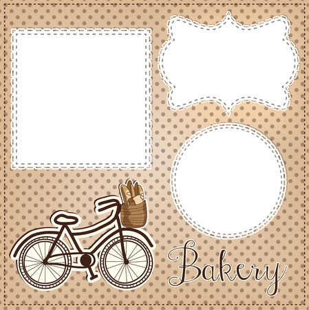boulangerie: Vintage bicycle with bread for bakery layout, with vintage lace frames for photos, text or scrapbooking, vector format. Illustration