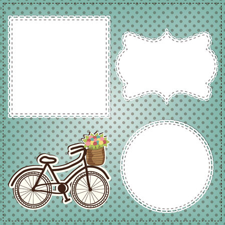 bicycle frame: Vintage bicycle with flowers in basket layout Illustration
