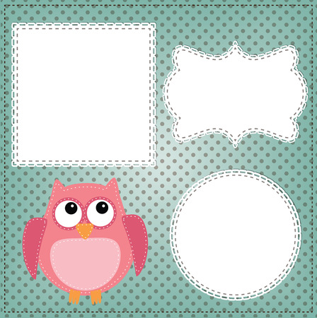 Cute owl layout with vintage lace frames Çizim