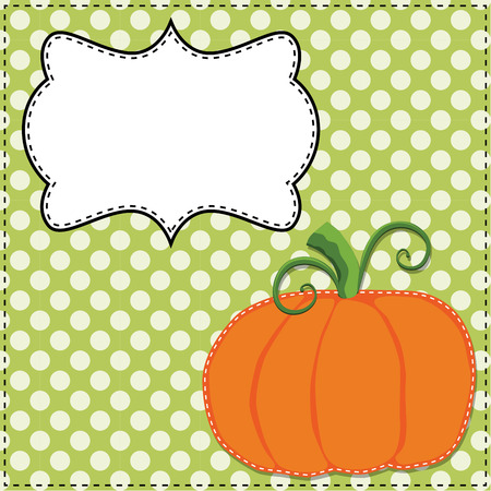 Pumpkin on a green polka dot background with a frame for text or photos, vector format