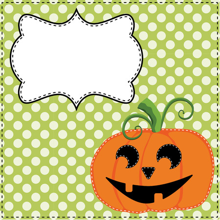 Jack o lantern or carved pumpkin on a green polka dot background with a frame for text or photos, vector format Illustration