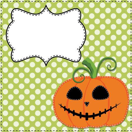 Jack o lantern or carved pumpkin on a green polka dot background Vector