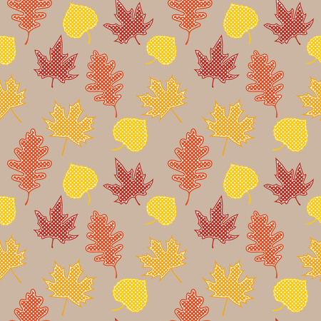 Seamless pattern with autumn leaves, scrapbook background, vector format Vector