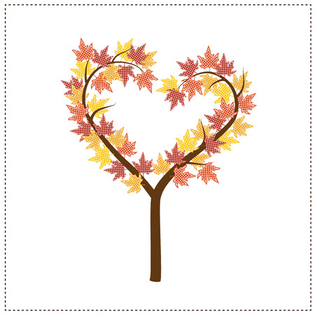 Autumn tree shaped like a heart with maple leaves, scrapbook background, vector format.