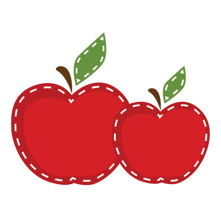 stitched: Two apples with cute stitching on a transparent background, for scrapbooking or clip art, vector format