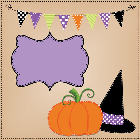 Pumpkin or jack o lantern and witches hat template or layout with bunting flags or banner, vector format Vector