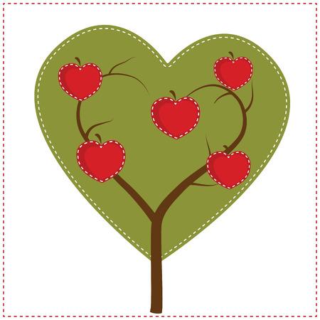 arbol de manzanas: Manzano en forma de corazón para el arte clip o scrapbooking, fondo transparente, en formato vectorial. Vectores