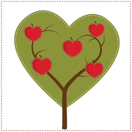Apple tree in shape of heart for clip art or scrapbooking, transparent background, vector format.