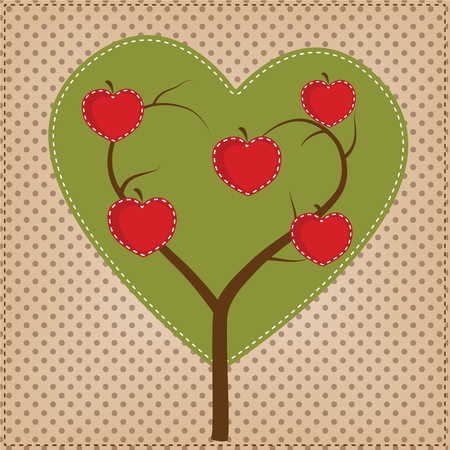 Apple tree in shape of a heart on polka dot background for scrapbooking, vector format. Vector