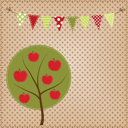 Apple tree with bunting or banner on polka dot background for scrapbooking, vector format. Vector
