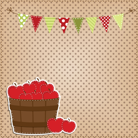 bushel: Apples in a basket or a barrel, with bunting or banner with a polka dot background, for scrapbooking, vector format.