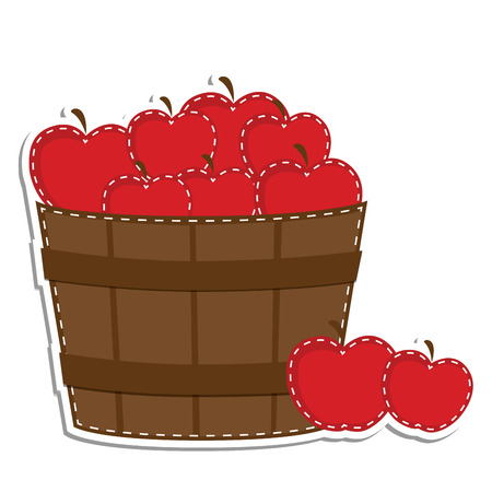Apples in a barrel or basket on transparent background for scrapbooking or clip art, vector format.