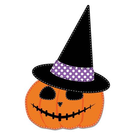 fondo transparente: Calabaza o jack o linterna y sombrero de brujas vectorial sobre fondo transparente