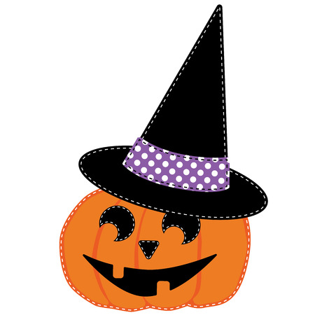 Pumpkin or jack o lantern and witches hat vector on transparent  background Vector