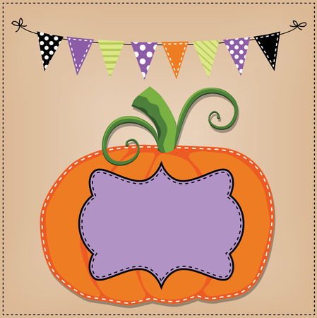 Pumpkin or jack o lantern template or layout with bunting flags or banner, vector format Vector