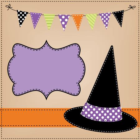 brujas caricatura: brujas sombrero diseño o plantilla con la bandera, banderas y cuerdas de gallardetes, formato vectorial