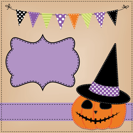 dashes: Pumpkin or jack o lantern and witches hat template or layout with bunting flags or banner, vector format